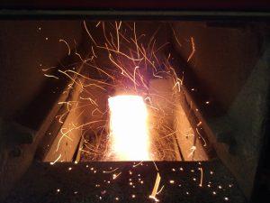 Interno di una stufa a legna/pellet